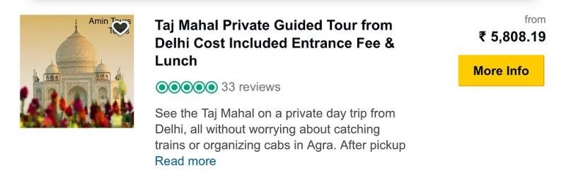 Taj Mahal Guided Tour all inclusions